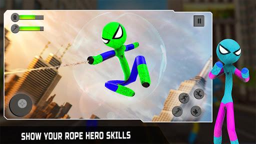 Flying Stickman Rope Hero Flying Hero Crime City v2.7 screenshots 1