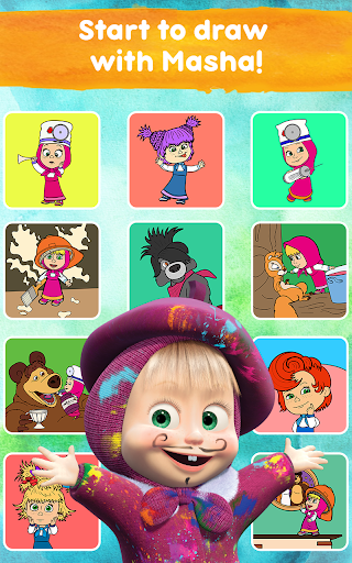 Masha and the Bear Free Coloring Pages for Kids v1.7.7 screenshots 19