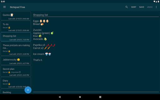 Notepad Free v1.16.0 screenshots 4