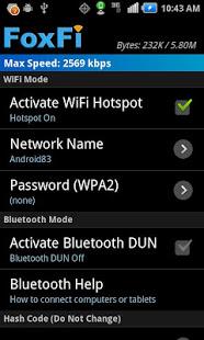 FoxFi WiFi Tether wo Root v screenshots 1