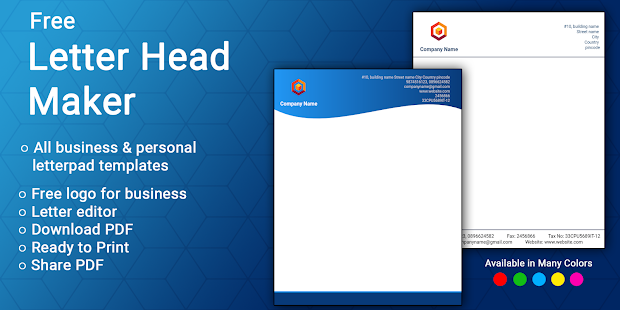 Letterhead Maker Business letter pad template Logo v2.0 screenshots 1