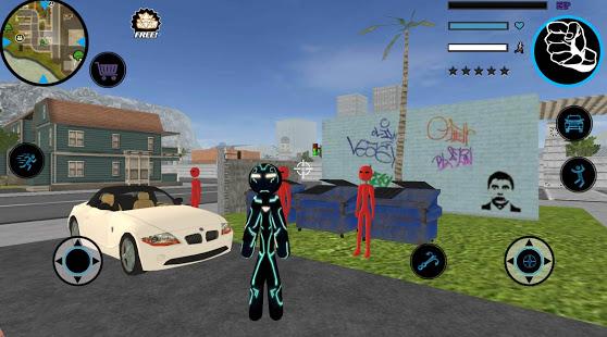 Neon Iron Stickman Rope Hero City Gangstar Mafia v1.6 screenshots 2