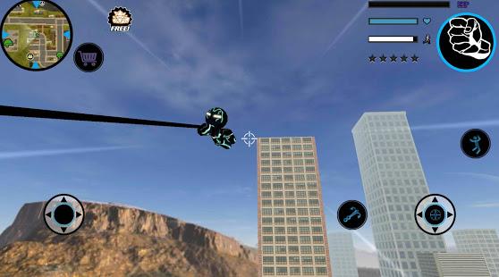 Neon Iron Stickman Rope Hero City Gangstar Mafia v1.6 screenshots 6