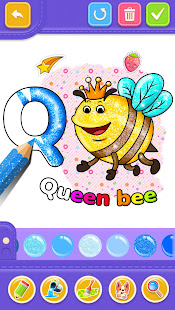 Glitter Number and letters coloring Book for kids v4.0 screenshots 1